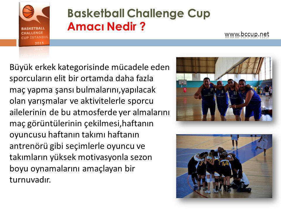Basketball Challenge Cup Amacı Nedir ? Büyük erkek kategorisinde mücadele eden sporcuların elit bir ortamda daha fazla maç yapma şansı bulmalarını,yap