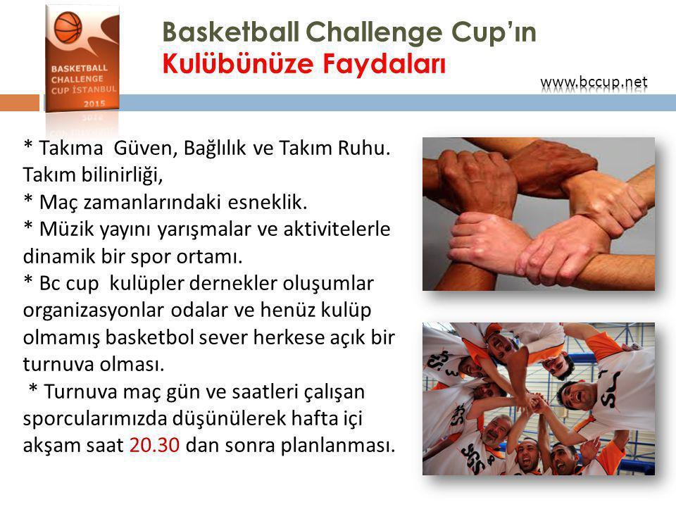 Basketball Challenge Cup'ın Kulübünüze Faydaları * Takıma Güven, Bağlılık ve Takım Ruhu. Takım bilinirliği, * Maç zamanlarındaki esneklik. * Müzik yay
