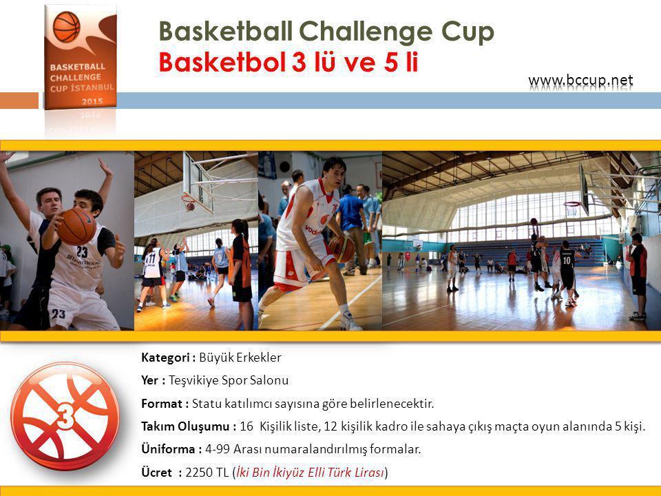 Basketball Challenge Cup Basketbol 3 lü ve 5 li Kategori : Büyük Erkekler Yer : Teşvikiye Spor Salonu Format : Statu katılımcı sayısına göre belirlene