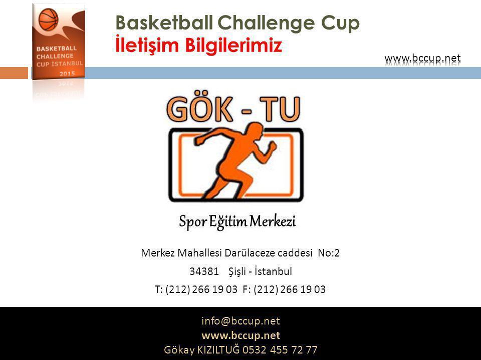 Basketball Challenge Cup İletişim Bilgilerimiz Merkez Mahallesi Darülaceze caddesi No:2 34381 Şişli - İstanbul T: (212) 266 19 03 F: (212) 266 19 03 i