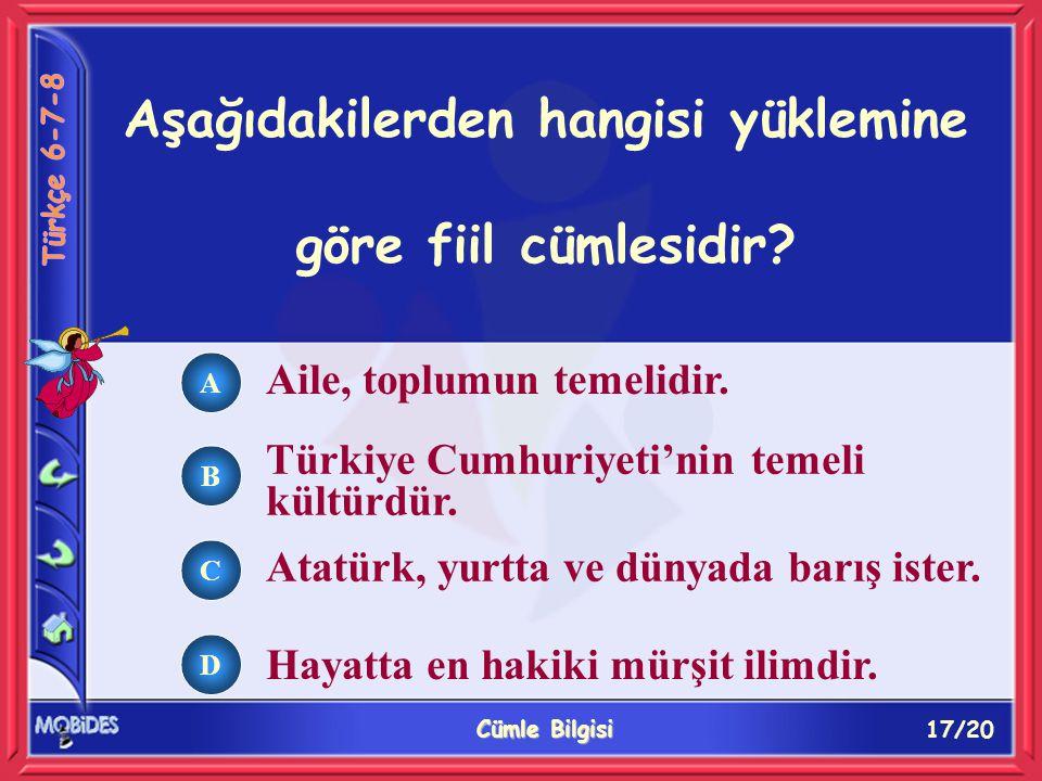 17/20 Cümle Bilgisi A B C D Aile, toplumun temelidir. Türkiye Cumhuriyeti'nin temeli kültürdür. Atatürk, yurtta ve dünyada barış ister. Hayatta en hak