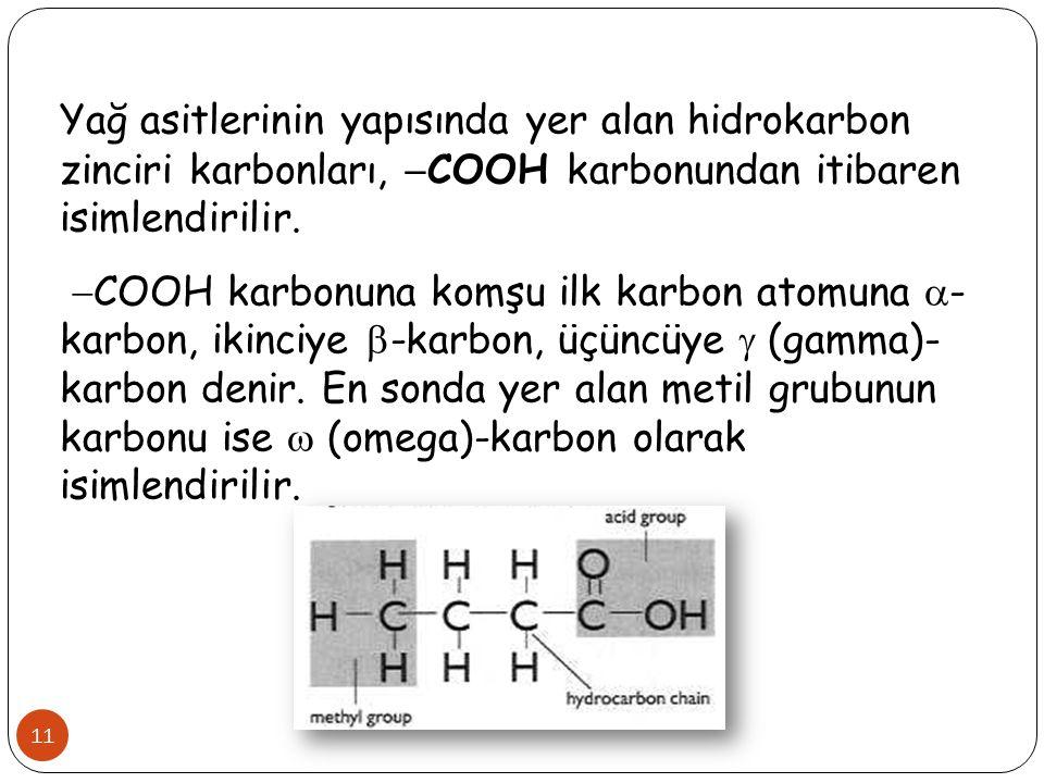 11 Yağ asitlerinin yapısında yer alan hidrokarbon zinciri karbonları,  COOH karbonundan itibaren isimlendirilir.  COOH karbonuna komşu ilk karbon at