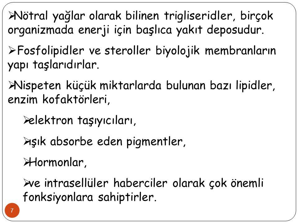 8  Lipidler iki ana sınıfa ayrılmaktadır.1.