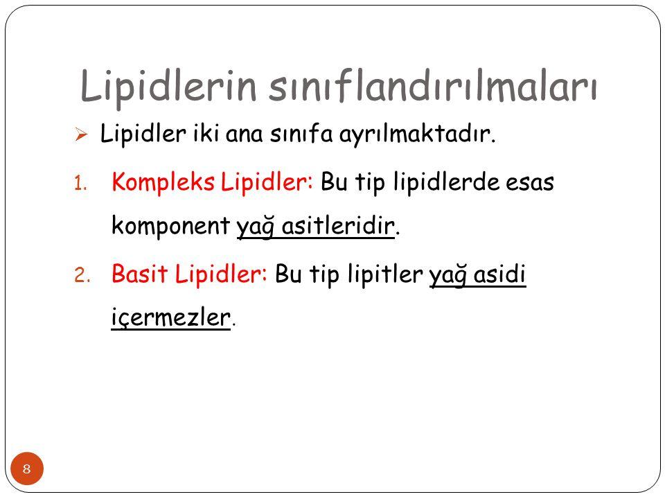 8  Lipidler iki ana sınıfa ayrılmaktadır. 1. Kompleks Lipidler: Bu tip lipidlerde esas komponent yağ asitleridir. 2. Basit Lipidler: Bu tip lipitler