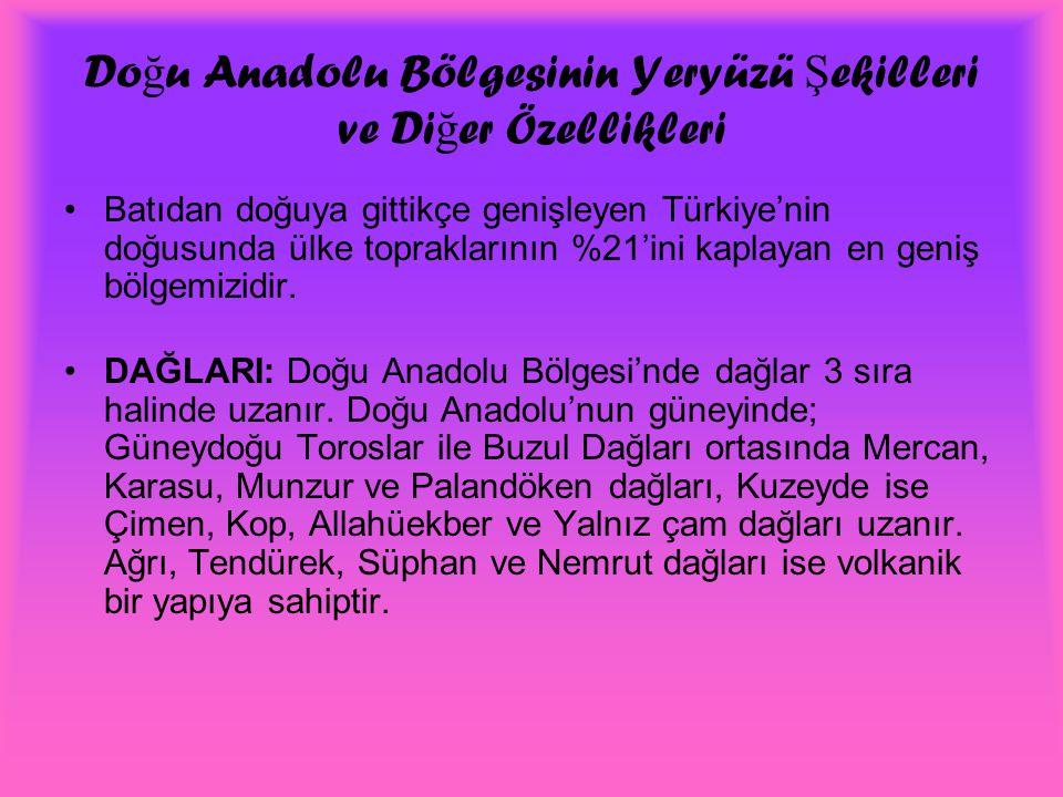 Do ğ u Anadolu Bölgesinin Yeryüzü Ş ekilleri ve Di ğ er Özellikleri Batıdan doğuya gittikçe genişleyen Türkiye'nin doğusunda ülke topraklarının %21'in