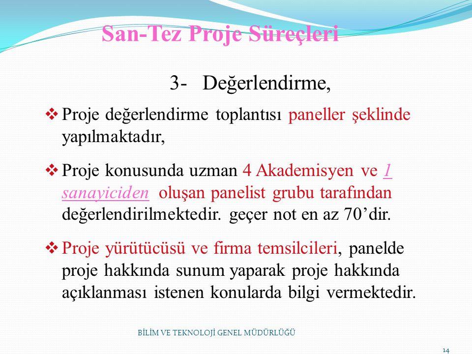 San-Tez Proje Süreçleri 3- Değerlendirme,  Proje değerlendirme toplantısı paneller şeklinde yapılmaktadır,  Proje konusunda uzman 4 Akademisyen ve 1
