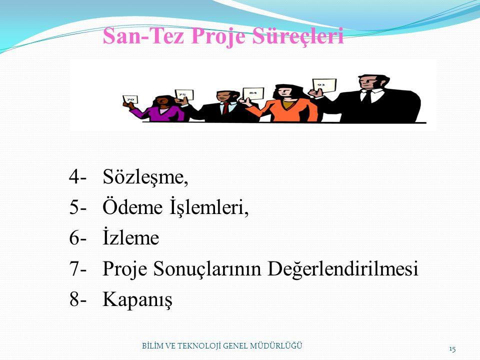 San-Tez Proje Süreçleri 4- Sözleşme, 5- Ödeme İşlemleri, 6- İzleme 7- Proje Sonuçlarının Değerlendirilmesi 8- Kapanış BİLİM VE TEKNOLOJİ GENEL MÜDÜRLÜ