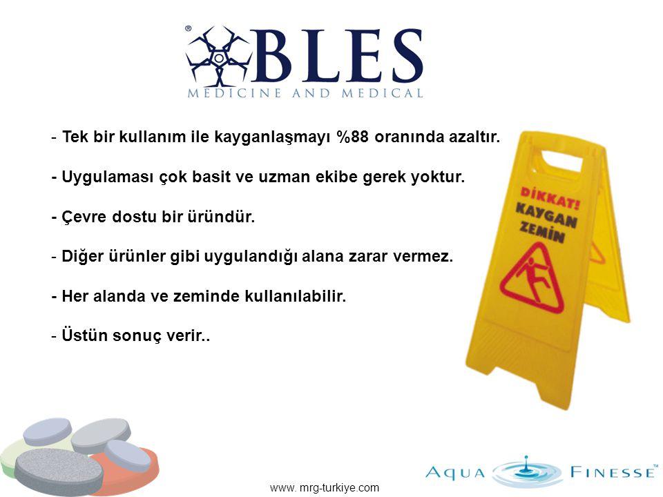 www. mrg-turkiye.com - Tek bir kullanım ile kayganlaşmayı %88 oranında azaltır. - Uygulaması çok basit ve uzman ekibe gerek yoktur. - Çevre dostu bir