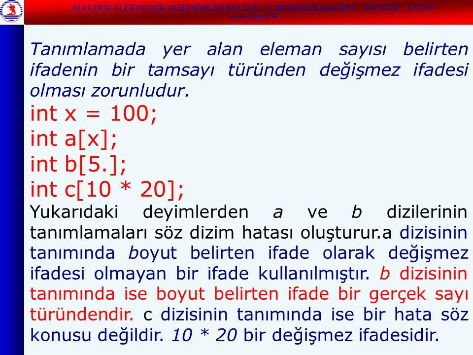 Dizi bildirimlerinde eleman sayısını belirten ifade yerine sıklıkla simgesel değişmezler kullanılır: #define ARRAY_SIZE 100 int a[ARRAY_SIZE]; /* geçerli bir bildirimdir */ Program içinde dizi boyutu yerine hep ARRAY_SIZE simgesel değişmezi kullanılabilir.Böylece programda ileride dizi boyutuna ilişkin bir değişiklik yapılmak istendiğinde, yalnızca simgesel değişmezin değerinin değiştirilmesi yeterli olur.