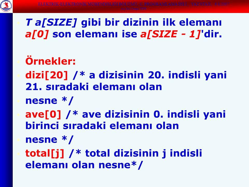 T a[SIZE] gibi bir dizinin ilk elemanı a[0] son elemanı ise a[SIZE - 1] dir.