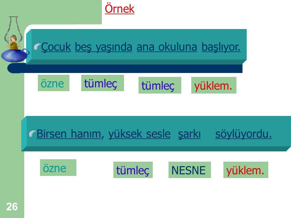 25 Tümleç Tümleçler, yüklemi türlü yönlerden tamamlayan sözcüklerdir. Cümledeki yüklem ve özne dışındaki tüm sözcükler, tümleç görevi yapmaktadır.