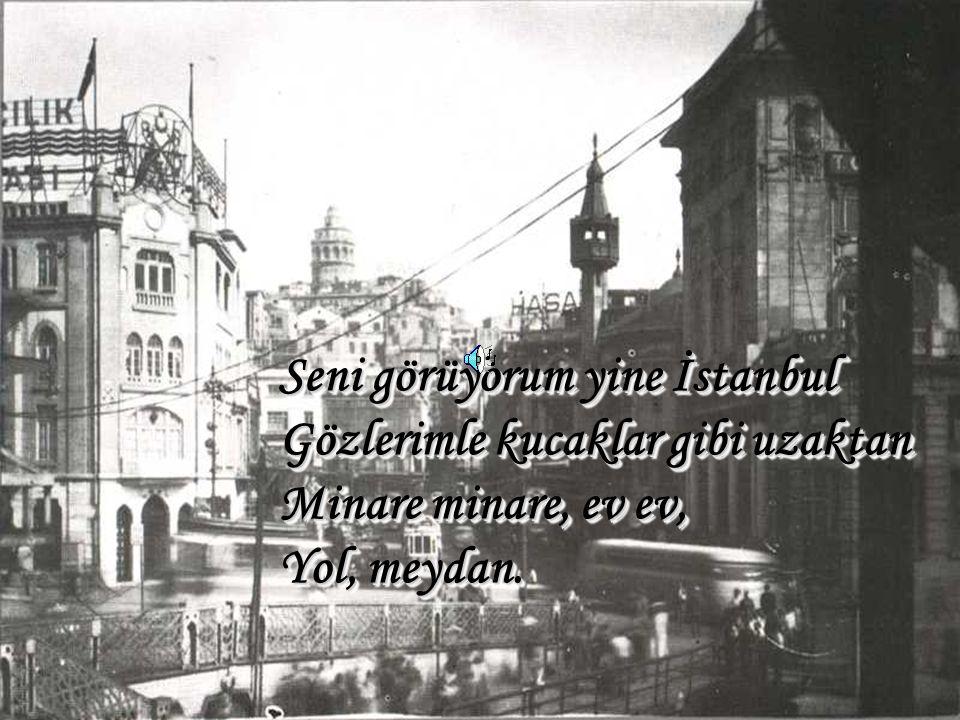 Seni görüyorum yine İstanbul Gözlerimle kucaklar gibi uzaktan Minare minare, ev ev, Yol, meydan.