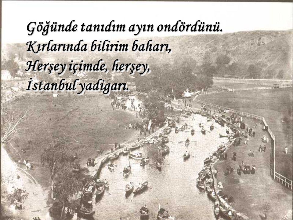 Göğünde tanıdım ayın ondördünü. Kırlarında bilirim baharı, Herşey içimde, herşey, İstanbul yadigarı.