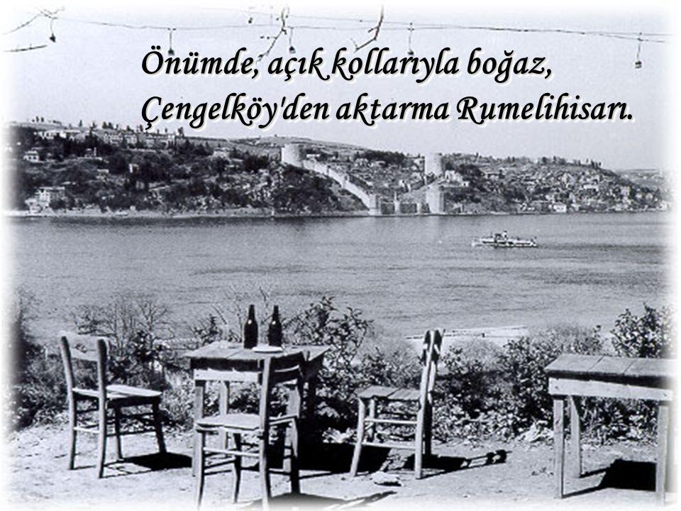 Önümde, açık kollarıyla boğaz, Çengelköy'den aktarma Rumelihisarı.