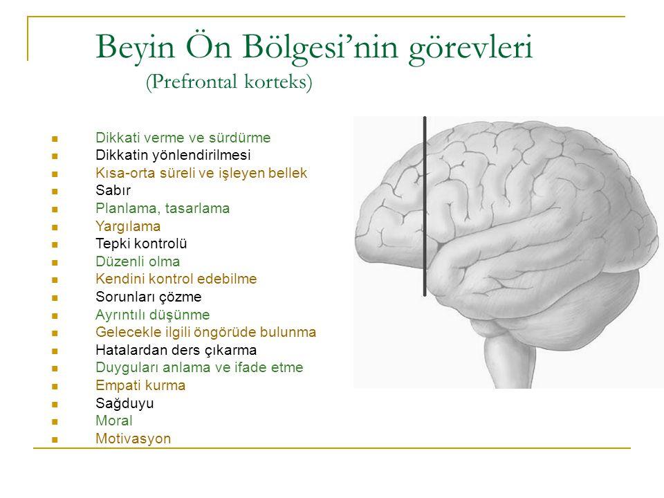 Beyin Ön Bölgesi'nin görevleri (Prefrontal korteks) Dikkati verme ve sürdürme Dikkatin yönlendirilmesi Kısa-orta süreli ve işleyen bellek Sabır Planla