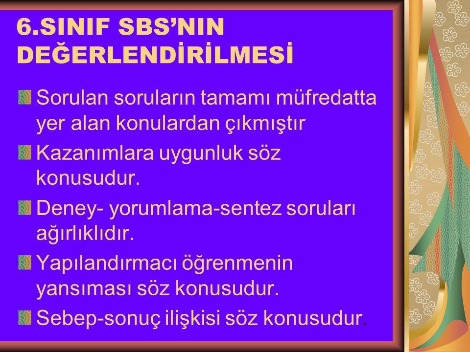 6.SINIF SBS'NIN DEĞERLENDİRİLMESİ Sorulan soruların tamamı müfredatta yer alan konulardan çıkmıştır Kazanımlara uygunluk söz konusudur.