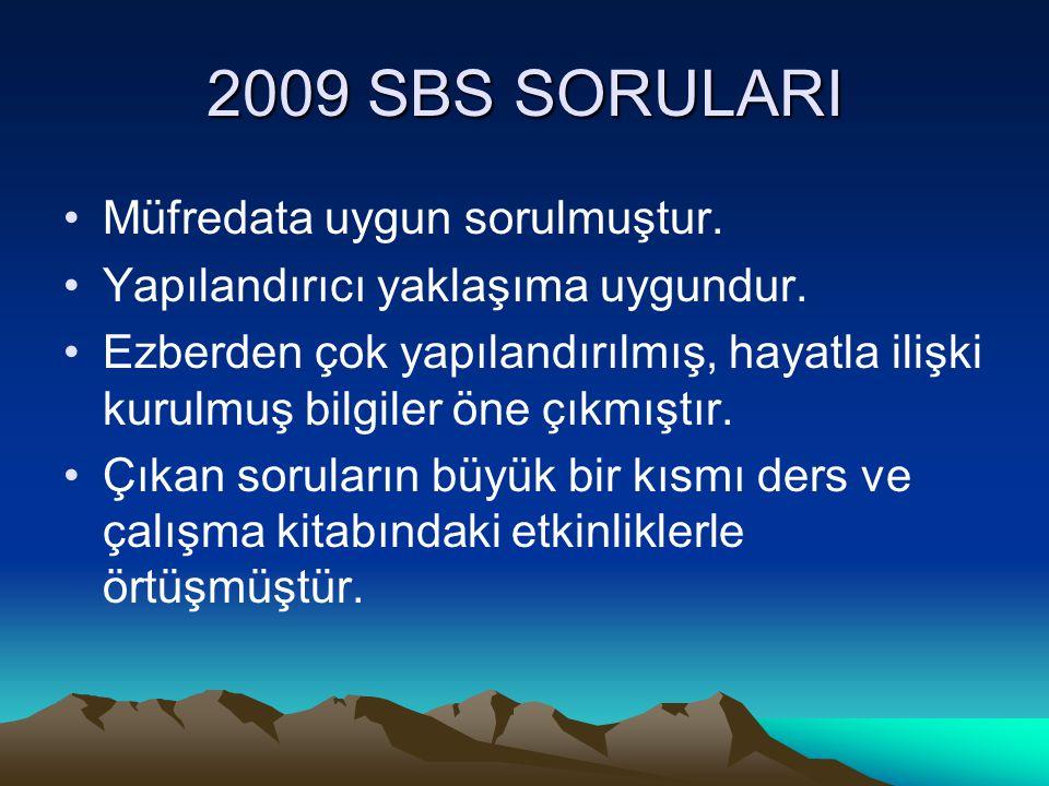 2009 SBS SORULARI Müfredata uygun sorulmuştur.Yapılandırıcı yaklaşıma uygundur.
