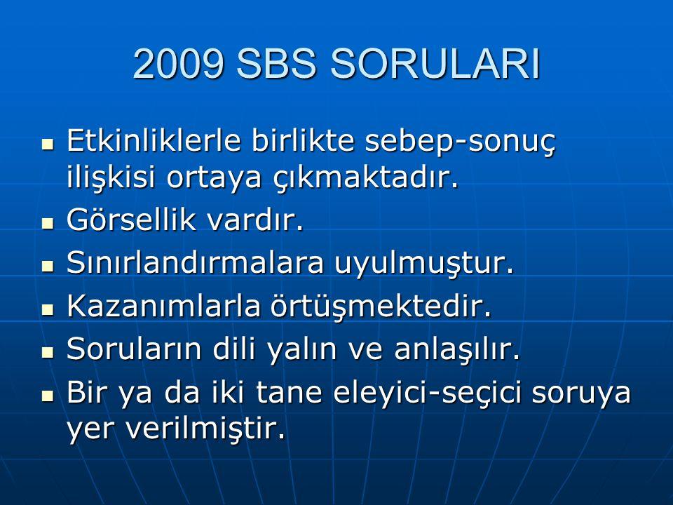 2009 SBS SORULARI Etkinliklerle birlikte sebep-sonuç ilişkisi ortaya çıkmaktadır.