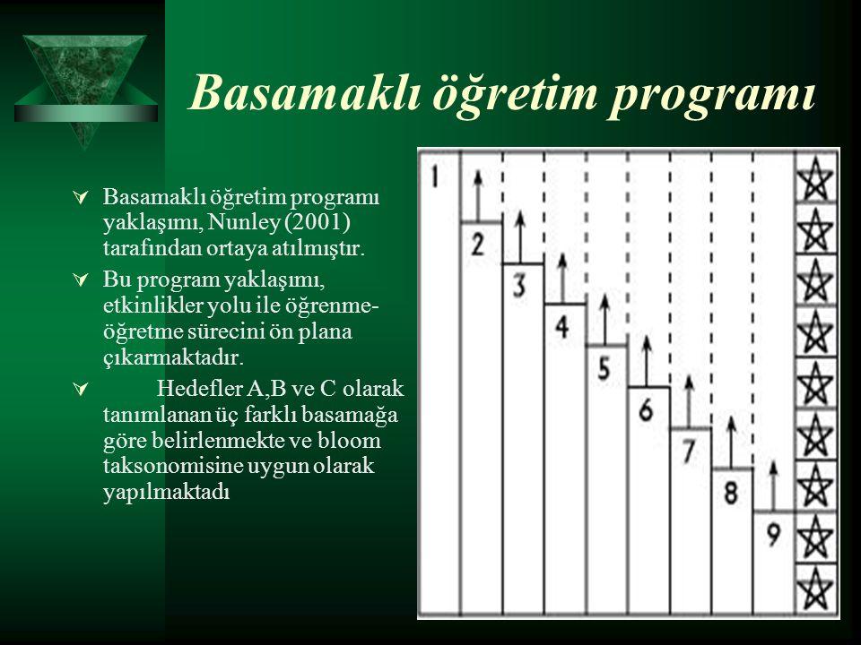 Basamaklı öğretim programı  Basamaklı öğretim programı yaklaşımı, Nunley (2001) tarafından ortaya atılmıştır.