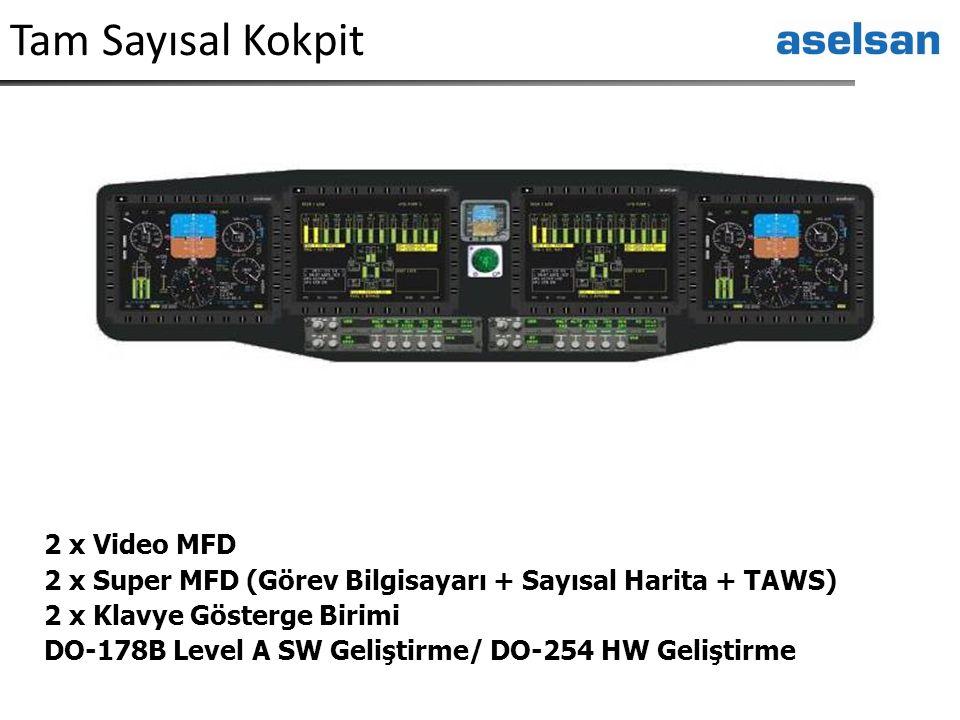Tam Sayısal Kokpit 2 x Video MFD 2 x Super MFD (Görev Bilgisayarı + Sayısal Harita + TAWS) 2 x Klavye Gösterge Birimi DO-178B Level A SW Geliştirme/ D