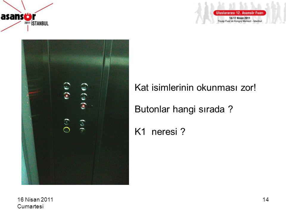 16 Nisan 2011 Cumartesi 14 K1 neresi ? Butonlar hangi sırada ? Kat isimlerinin okunması zor!