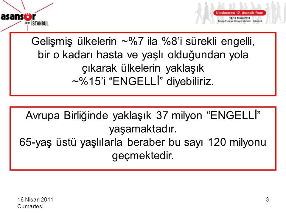 16 Nisan 2011 Cumartesi 4 Ancak ülkemizde durum biraz daha vahim: Türkiye'de ~8,5 milyon kişi SÜREKLİ ENGELLİ (~%11-12); buna bir de %7-8 civarındaki geçici ENGELLİ'leri katarsak, toplam nüfusun yaklaşık %18-20'si ENGELLİ !