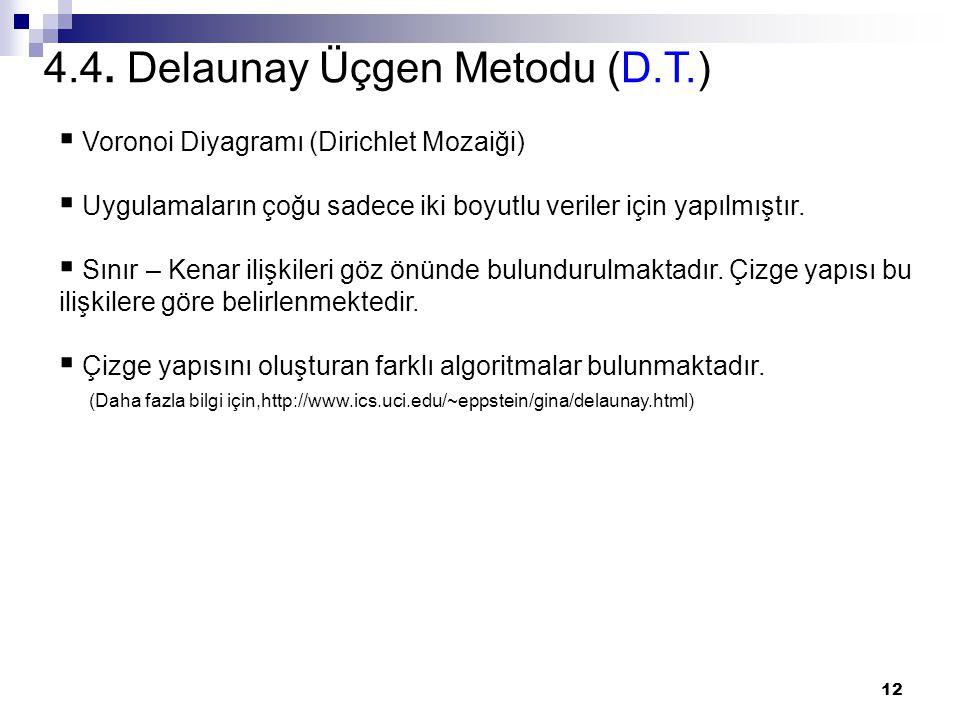 12 4.4. Delaunay Üçgen Metodu (D.T.)  Voronoi Diyagramı (Dirichlet Mozaiği)  Uygulamaların çoğu sadece iki boyutlu veriler için yapılmıştır.  Sınır