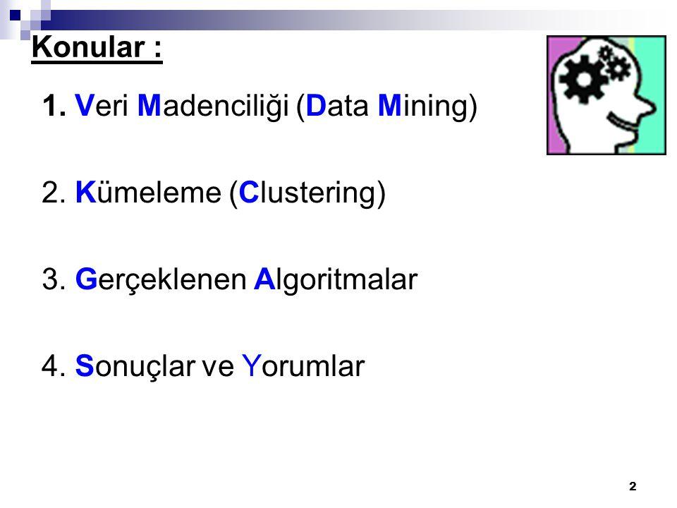 2 Konular : 1. Veri Madenciliği (Data Mining) 2. Kümeleme (Clustering) 3. Gerçeklenen Algoritmalar 4. Sonuçlar ve Yorumlar