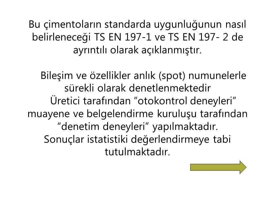 Bu çimentoların standarda uygunluğunun nasıl belirleneceği TS EN 197-1 ve TS EN 197- 2 de ayrıntılı olarak açıklanmıştır.