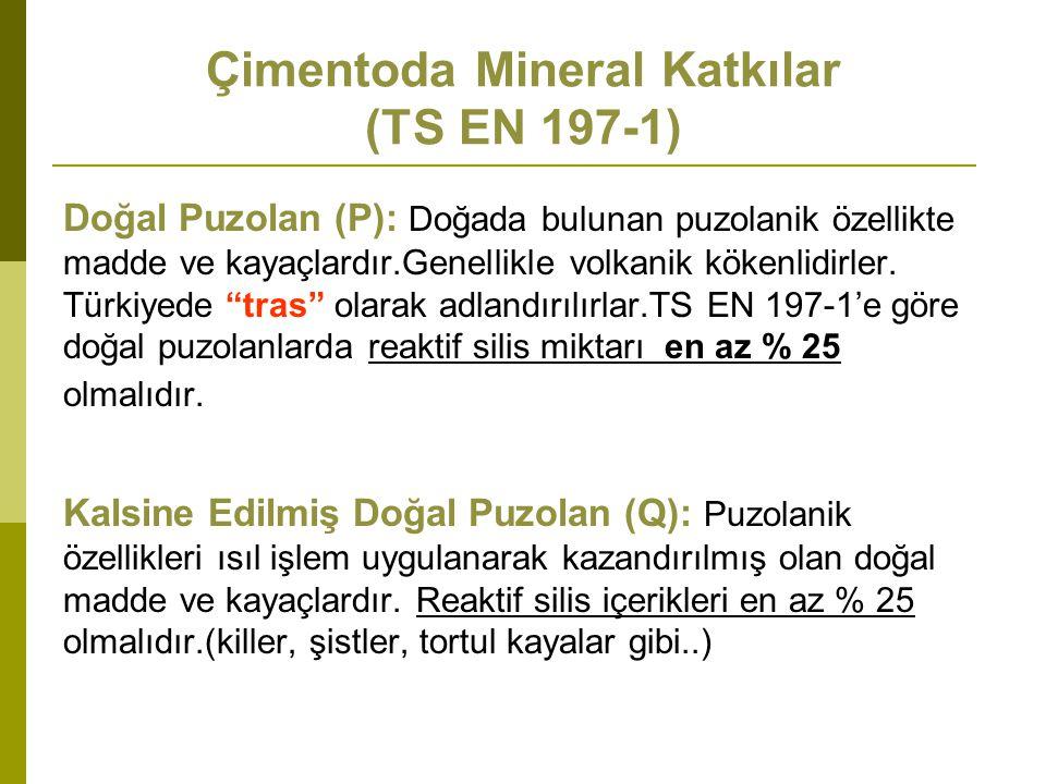 Doğal Puzolan (P): Doğada bulunan puzolanik özellikte madde ve kayaçlardır.Genellikle volkanik kökenlidirler.
