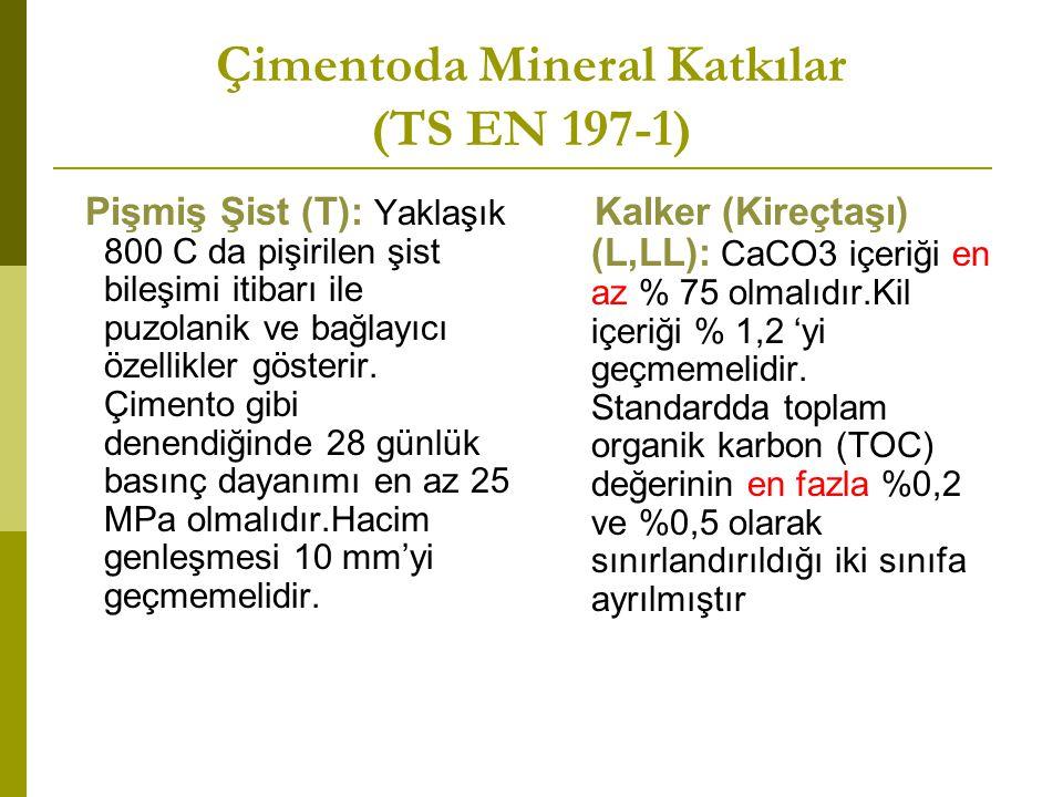 Çimentoda Mineral Katkılar (TS EN 197-1) Pişmiş Şist (T): Yaklaşık 800 C da pişirilen şist bileşimi itibarı ile puzolanik ve bağlayıcı özellikler gösterir.