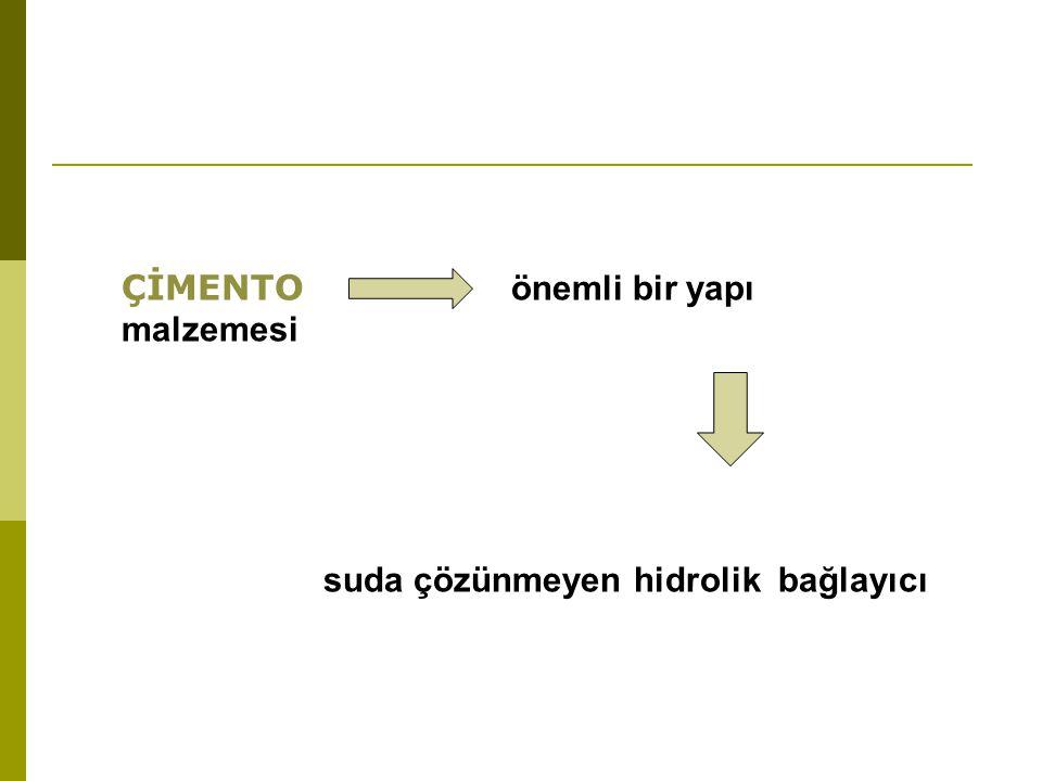 ÇİMENTO önemli bir yapı malzemesi suda çözünmeyen hidrolik bağlayıcı