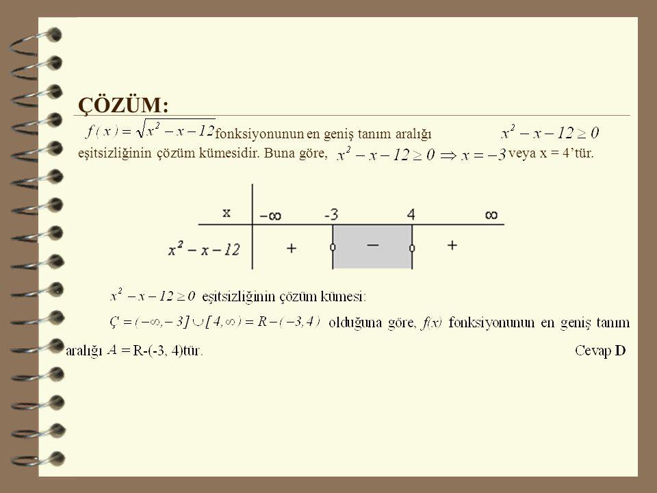 ÇÖZÜM: fonksiyonunun en geniş tanım aralığı eşitsizliğinin çözüm kümesidir.
