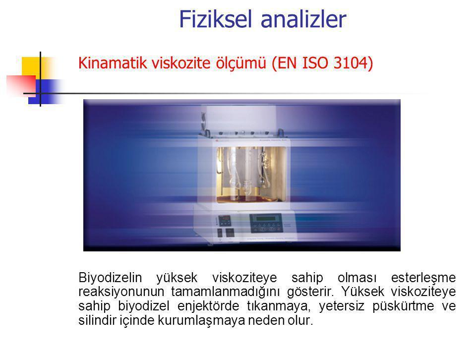 Fiziksel analizler Kinamatik viskozite ölçümü (EN ISO 3104) Biyodizelin yüksek viskoziteye sahip olması esterleşme reaksiyonunun tamamlanmadığını göst