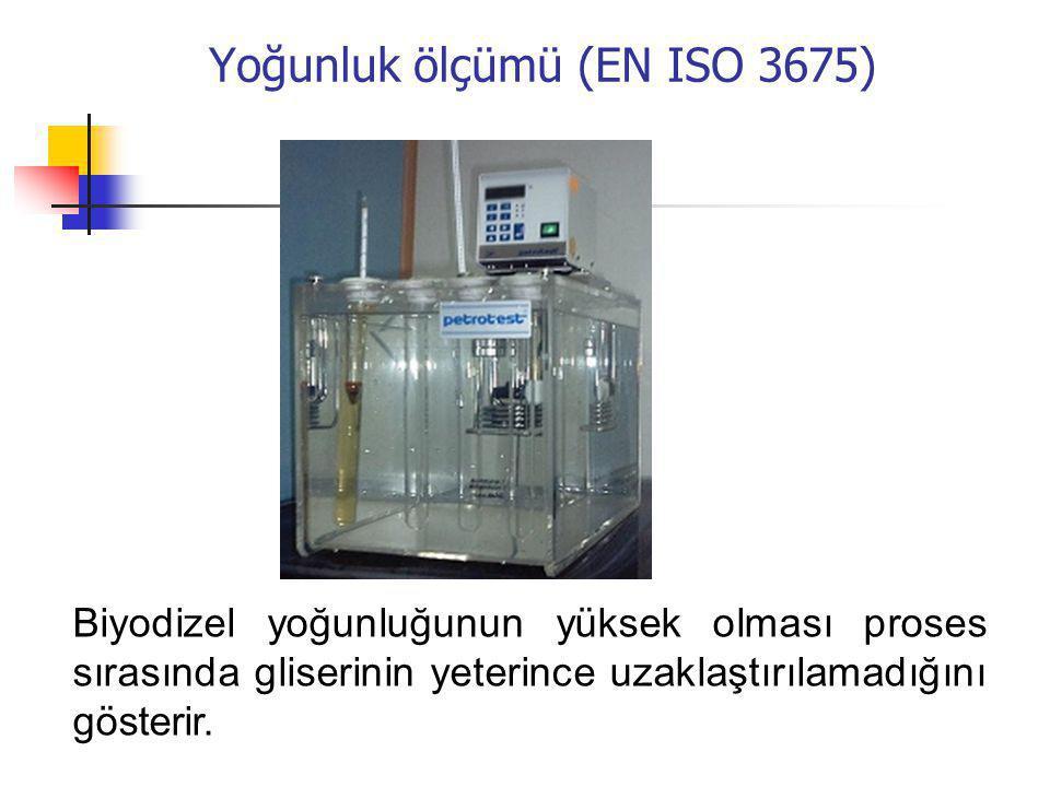 Yoğunluk ölçümü (EN ISO 3675) Biyodizel yoğunluğunun yüksek olması proses sırasında gliserinin yeterince uzaklaştırılamadığını gösterir.