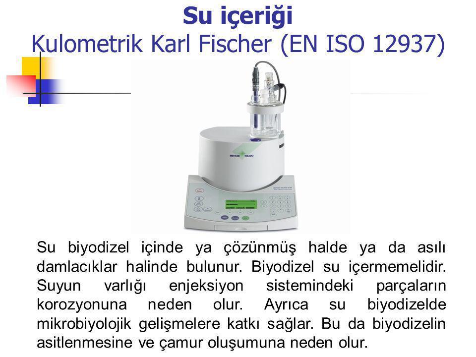 Su içeriği Kulometrik Karl Fischer (EN ISO 12937) Su biyodizel içinde ya çözünmüş halde ya da asılı damlacıklar halinde bulunur. Biyodizel su içermeme