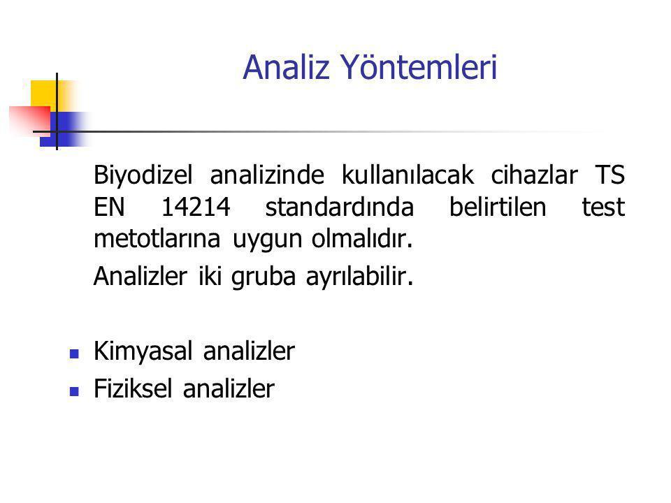 Kimyasal analizler Ester içeriği Gliseridler Metanol Asit değeri İyot değeri Kükürt Sodyum, potasyum Fosfor