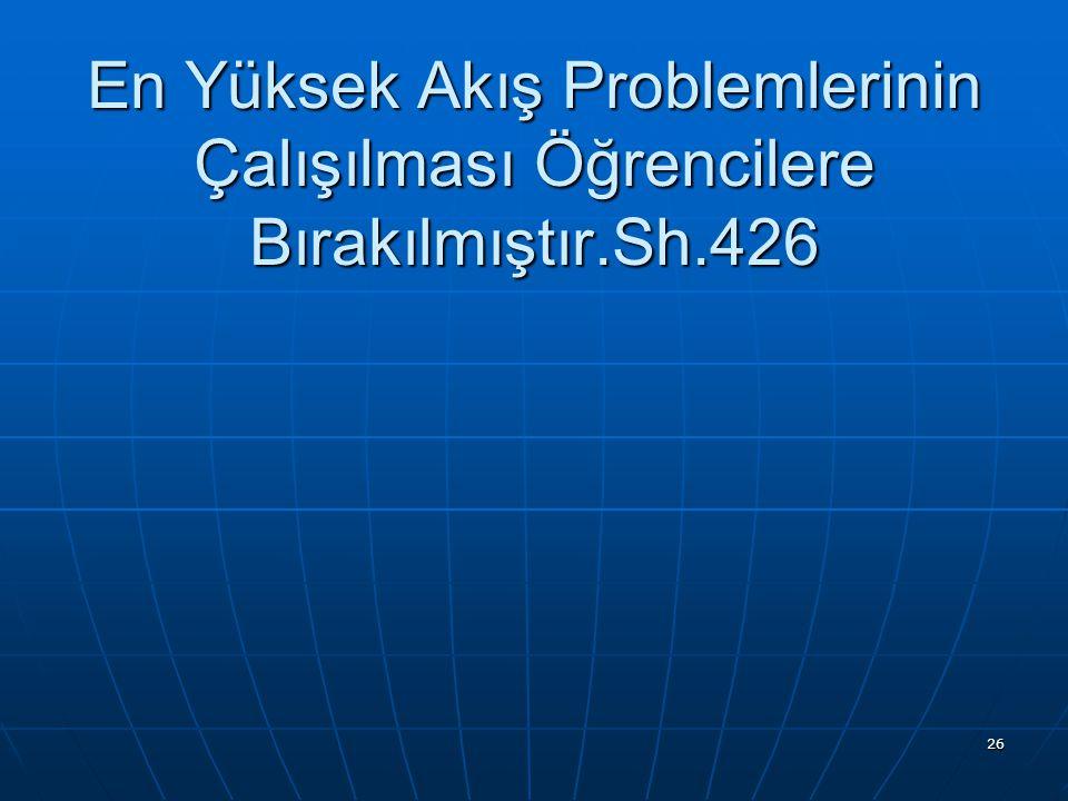 26 En Yüksek Akış Problemlerinin Çalışılması Öğrencilere Bırakılmıştır.Sh.426