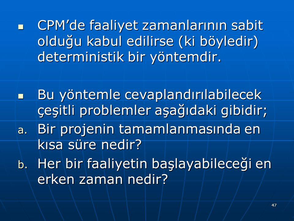 47 CPM'de faaliyet zamanlarının sabit olduğu kabul edilirse (ki böyledir) deterministik bir yöntemdir. CPM'de faaliyet zamanlarının sabit olduğu kabul