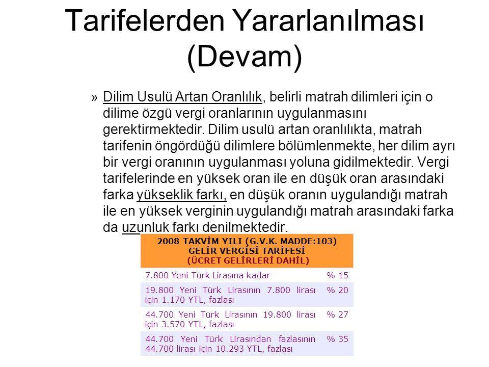 Tarifelerden Yararlanılması (Devam) »Dilim Usulü Artan Oranlılık, belirli matrah dilimleri için o dilime özgü vergi oranlarının uygulanmasını gerektir