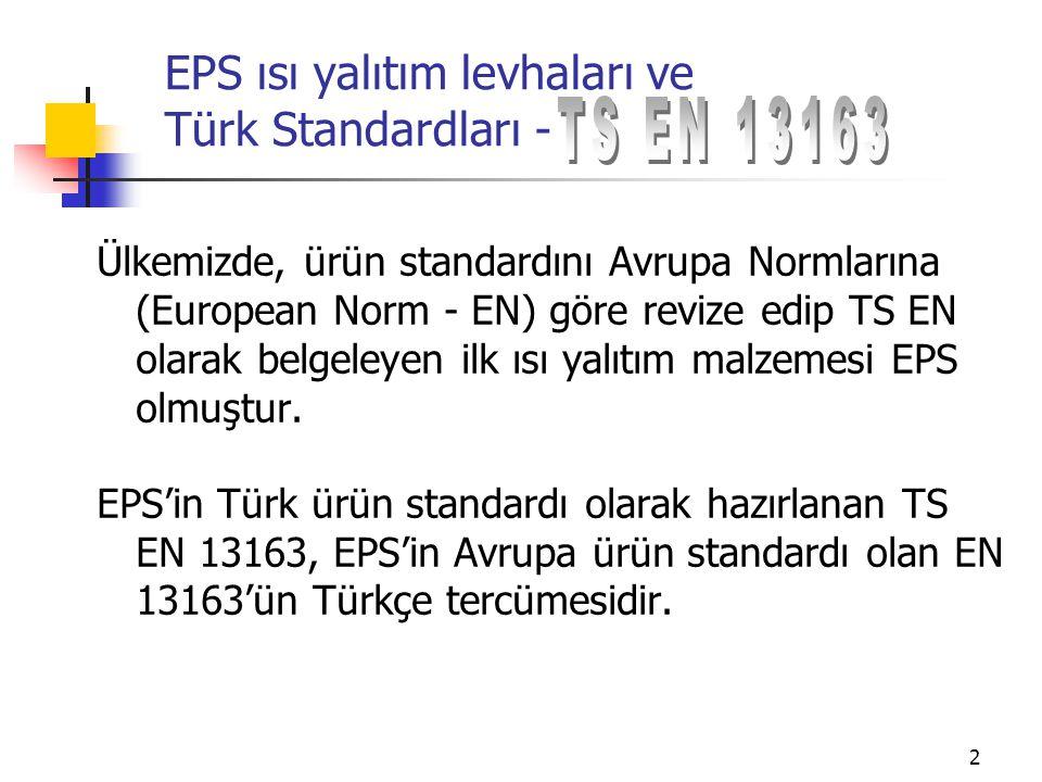 13 EPS ısı yalıtım levhaları ve Türk Standardları - Özel uygulamalar için ise: Su buharı geçirgenliği Dinamik rijitlik Sıkıştırılabilirlik Görünür yoğunluk (İlave bir notla, Türkiye'de tüm ürünlerde belirlenmesi istenmiştir)