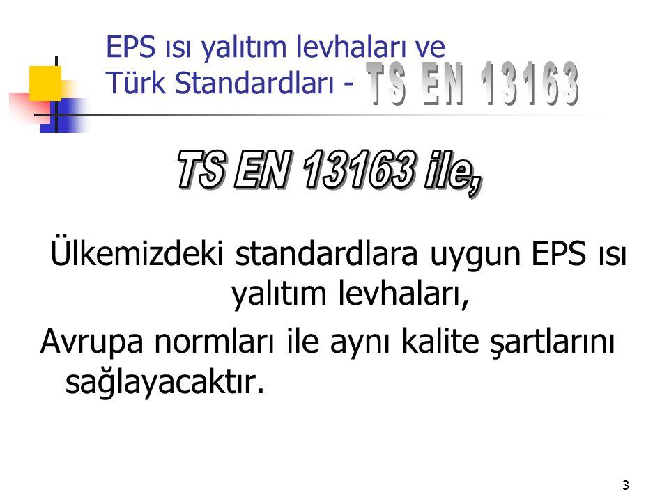 14 EPS ısı yalıtım levhaları ve Türk Standardları - AŞAĞİDAKİ AÇIKLAMALAR İLAVE BİLGİLER BÖLÜMÜNDE VERİLMEKTEDİR EPS zehirli olmayan, inert (reaksiyona girmeyen) bir maddedir ve kloroflorokarbonlar (CFC), hidrokloroflorokarbonlar (HCFC) veta formaldehit ihtiva etmez.