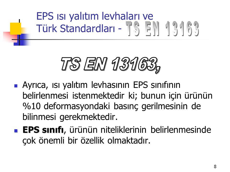 9 EPS ısı yalıtım levhaları ve Türk Standardları - EPS 30EPS 100EPS 350 EPS 50EPS 120EPS 400 EPS 60EPS 150EPS 500 EPS 70EPS 200 Ayrıca 15 kg/m 3 ten daha düşük EPS 80EPS 250 yoğunlukların ısı yalıtım amaçlı EPS 90EPS 300 kullanımı bir süre yasaklanmıştır.