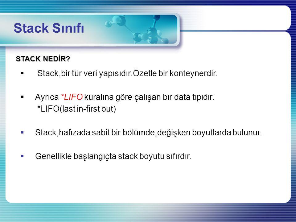 Stack Sınıfı STACK NEDİR?  Stack,bir tür veri yapısıdır.Özetle bir konteynerdir.  Ayrıca *LIFO kuralına göre çalışan bir data tipidir. *LIFO(last in