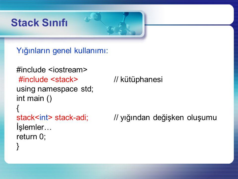 Constructer: Yeni stack'ın yapıcı fonksiyonu Empty : Konteynerimizin boş olup olmadığını kontrol etme Pop : Veri çıkarma Push : Veri ekleme Size : Stack'ın içindeki verilerin sayısını verir.