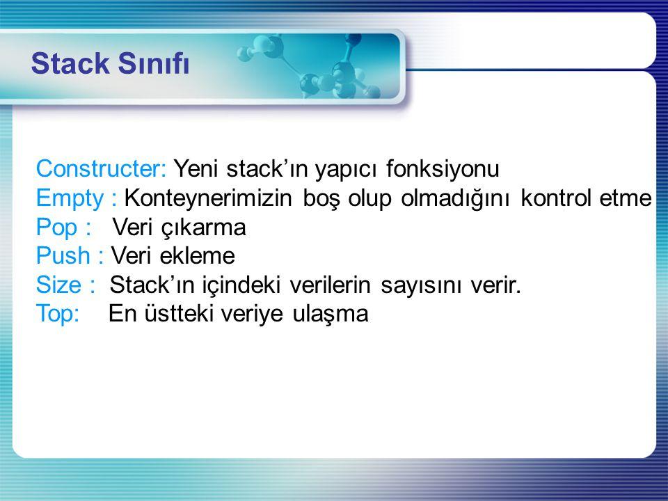 Constructer: Yeni stack'ın yapıcı fonksiyonu Empty : Konteynerimizin boş olup olmadığını kontrol etme Pop : Veri çıkarma Push : Veri ekleme Size : Sta