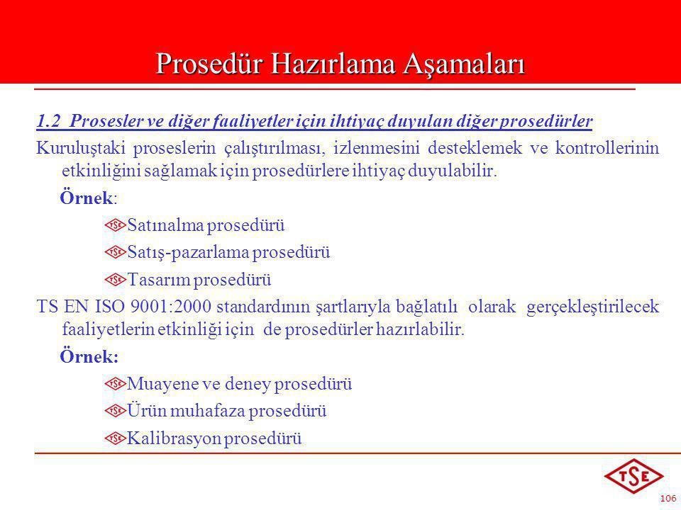 106 1.2 Prosesler ve diğer faaliyetler için ihtiyaç duyulan diğer prosedürler Kuruluştaki proseslerin çalıştırılması, izlenmesini desteklemek ve kontr