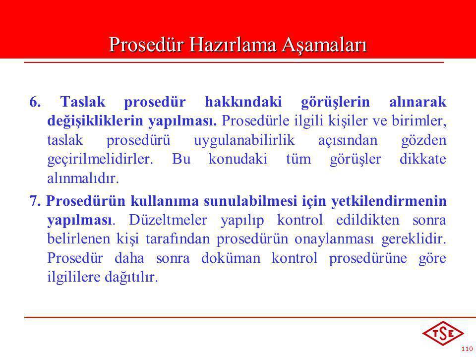 110 6. Taslak prosedür hakkındaki görüşlerin alınarak değişikliklerin yapılması. Prosedürle ilgili kişiler ve birimler, taslak prosedürü uygulanabilir
