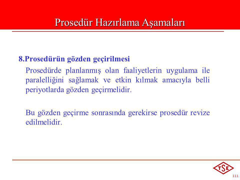 111 8.Prosedürün gözden geçirilmesi Prosedürde planlanmış olan faaliyetlerin uygulama ile paralelliğini sağlamak ve etkin kılmak amacıyla belli periyo