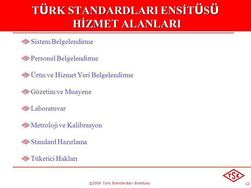 12 ©2009 Türk Standardları Enstitüsü T Ü RK STANDARDLARI ENSİT Ü S Ü HİZMET ALANLARI Sistem Belgelendirme Personel Belgelendirme Ürün ve Hizmet Yeri B